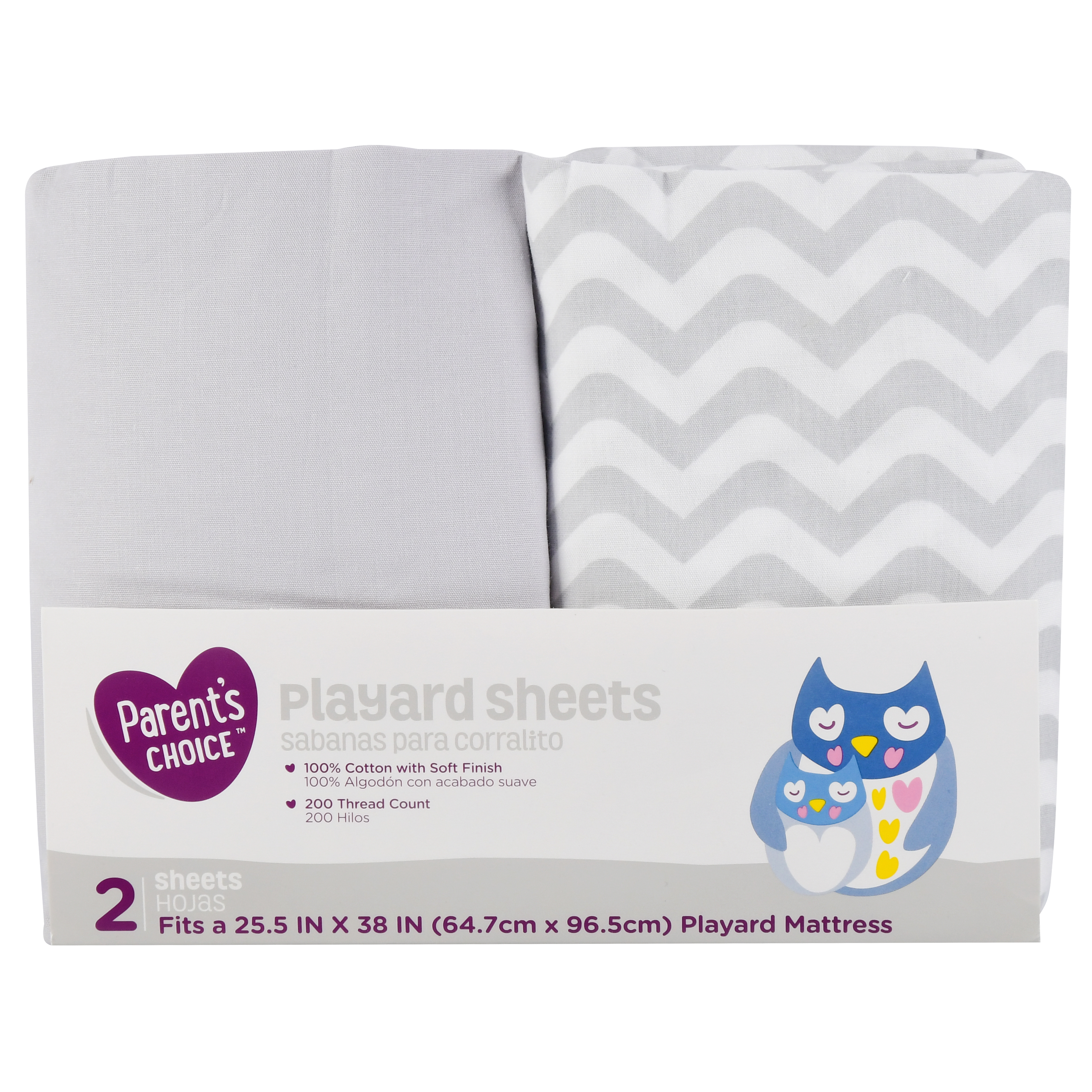 Parent's Choice Playard Crib Sheets, Neutral, 2 Count