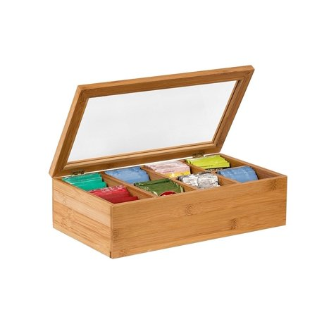 Saunders Storage Holder - Tea Box Tea Storage Bamboo Natural, Nice Tea Chest Tea Packaging Good for Tea Bag Holder