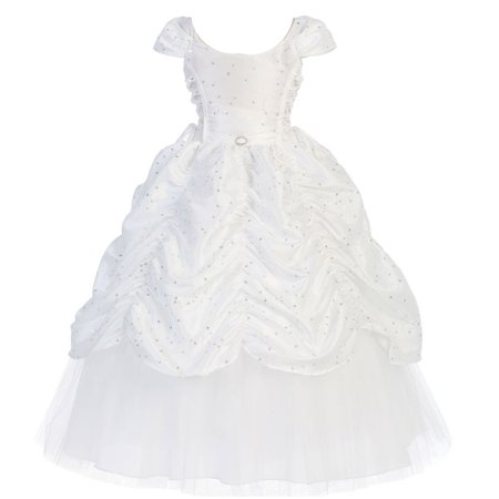 Girls White Cinderella Embroidered Pageant Dress 8-12