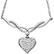 Sterling Silver White Heart Necklace made with Swarovski Elements, 18