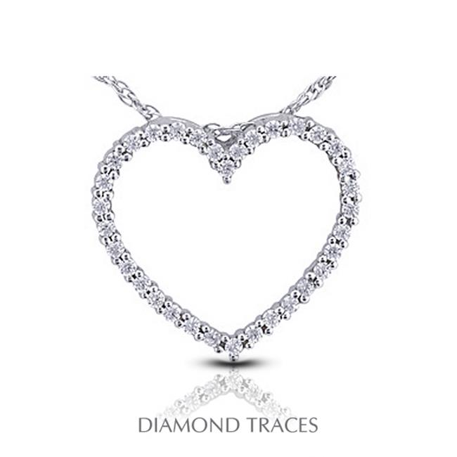 Diamond Traces UD-GOS311-2354 0. 68 Carat Total Natural Diamonds 14K White Gold Prong Setting Heart Shape Fashion Pendant