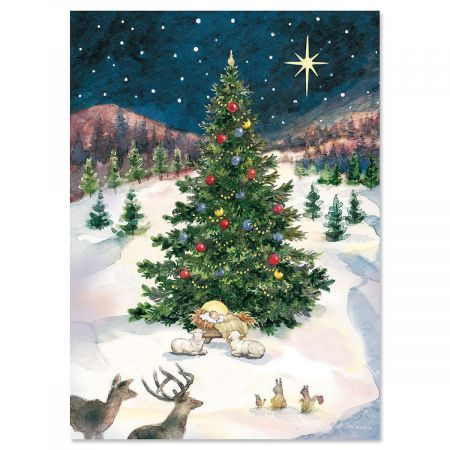 "Merry Christmas Tree and Manger Christmas Card- Religious Greeting cards, Set of 18, 5"" x 7"""