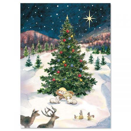 Merry Christmas Tree And Manger Christmas Card Religious Greeting Cards Set Of 18 5 X 7 Walmart Com Walmart Com