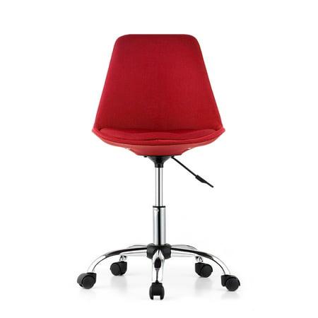 iKayaa Fashion Adjustable Home Office Desk Chair 360°Swivel Pneumatic Study Computer Task Chair Shell Stool Red/Purple