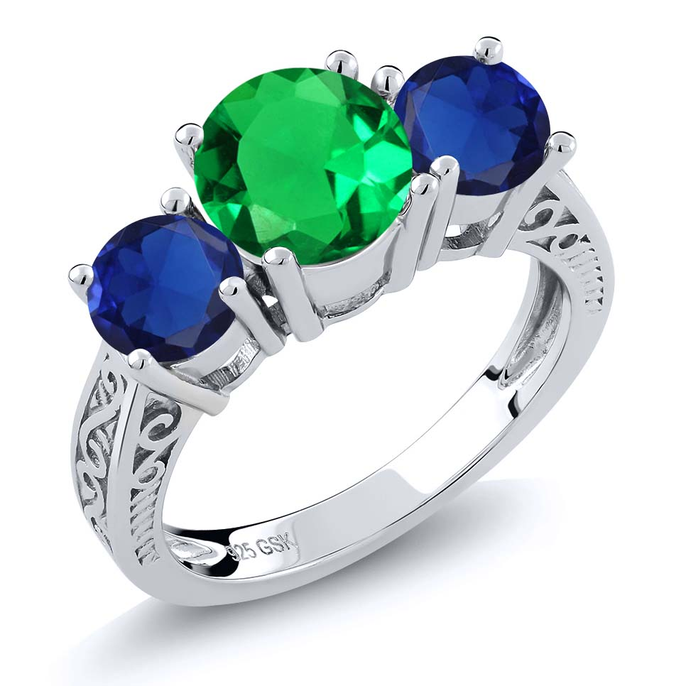 2.42 Ct Green Simulated Emerald Blue Simulated Sapphire 925 Silver 3-Stone Ring