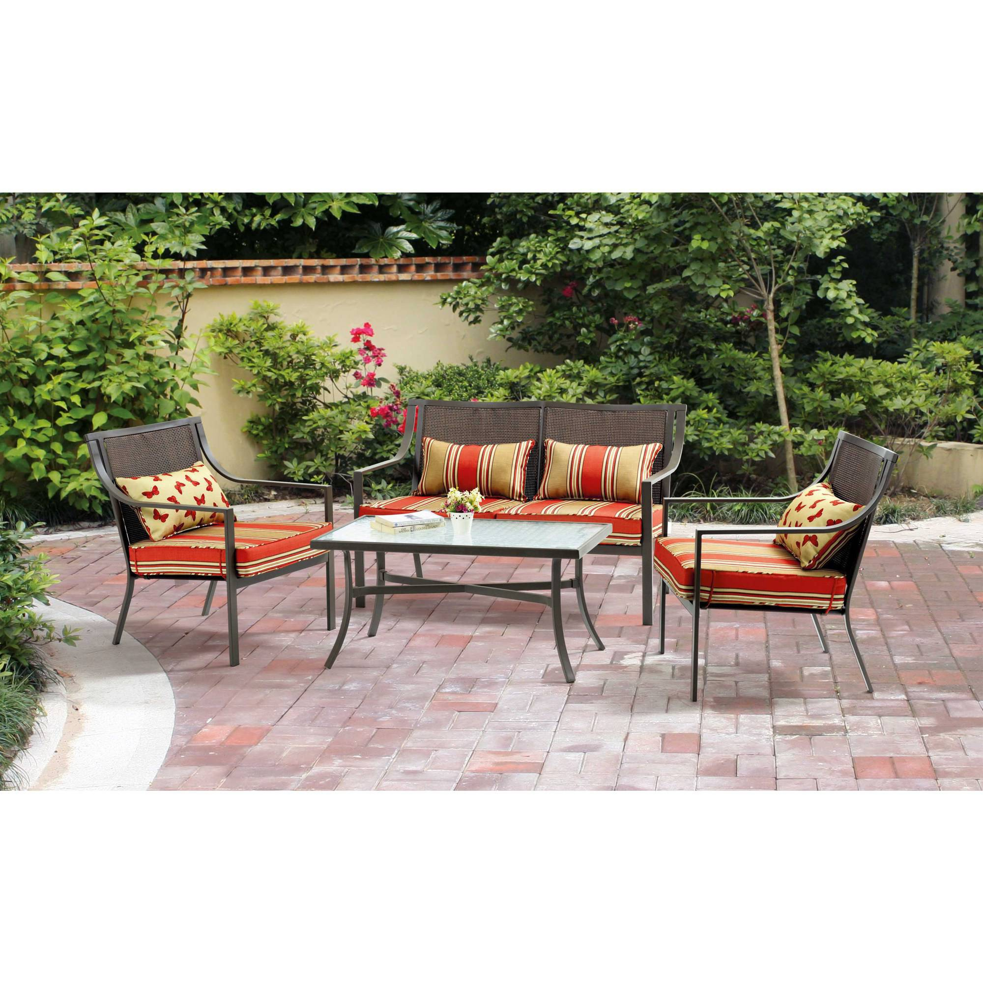 Mainstays Alexandra Square 4-Piece Patio Conversation Set, Red Stripe with Butterflies, Seats 4