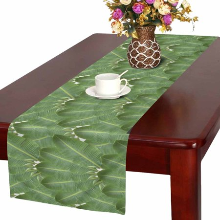 MKHERT Tropical Banana Leaves Aloha Style Table Runner Home Decor for Wedding Banquet Decoration 16x72 Inch](Aloha Decorations)