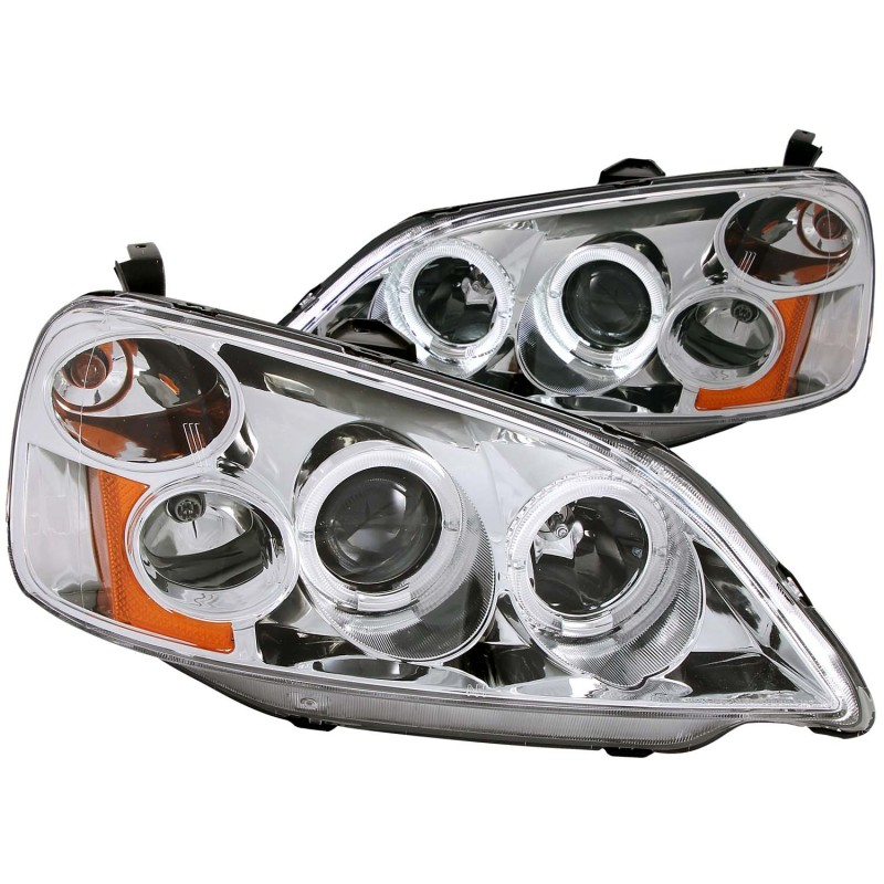 ANZO 2001-2003 Honda Civic Projector Headlights w/ Halo Chrome