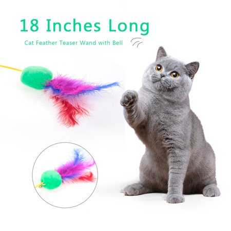 Cat Toy 18 Inch Wand - Cat Feather Teaser Wand 18 Inches Long Interactive Feather Teaser Toy with Bell for Cats Kittens