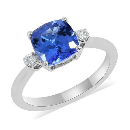 ILIANA 18K White Gold Cushion AAA Premium Blue Tanzanite White Diamond Ring Women Jewelry for Gift Ct 1.9 G-H Color Si1 Clarity