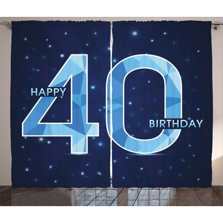 40th Birthday Decorations Curtains 2 Panels Set Abstract Modern Design Geometrical Number Forty Emblem