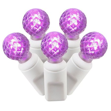 Vickerman Purple LED G12 Berry Single Mold String Lights, 50 Count 50 Series Single Light