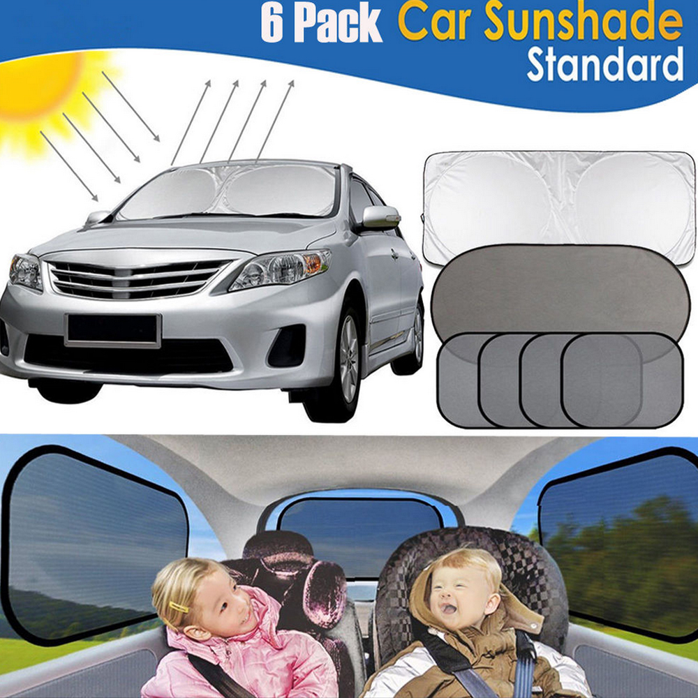 "Car Windshield Sunshade Jumbo(59""x33"") for Car SUV,iClover Front UV Ray Protector Shield Keeps Vehicle Cooler for your Baby with [5 Pack] Car Window Mesh Sunshade for Side&Rear Window"