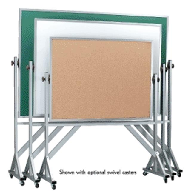 AARCO Products ARS3648S Aluminum Frame Revolving Porcelain Chalkboard on Both Sides
