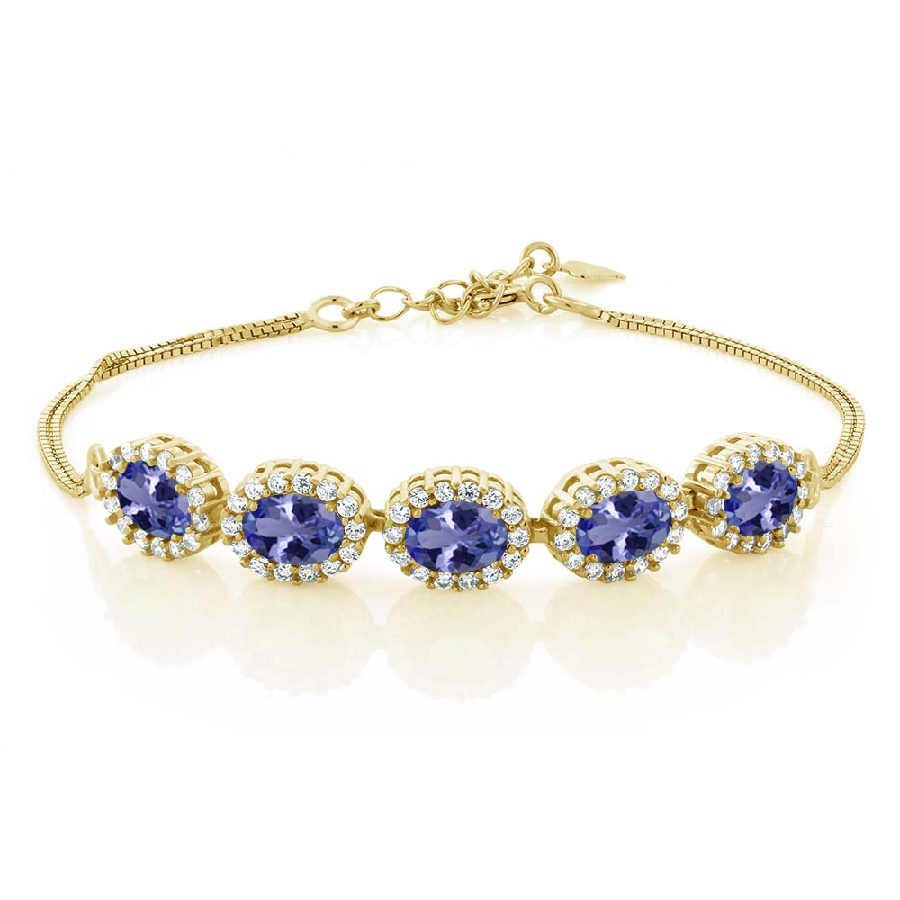 4.79 Ct Blue Tanzanite AAAA 18K Yellow Gold Plated Silver Bracelet by