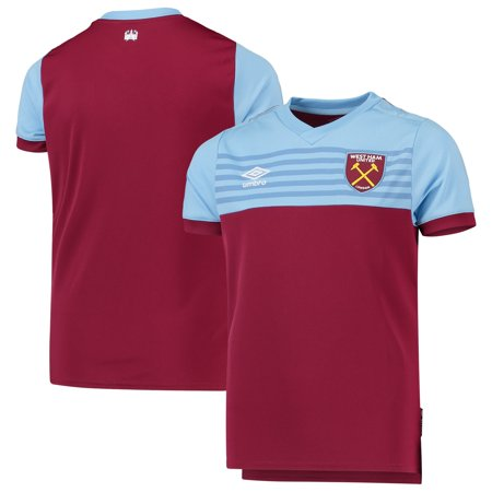 West Ham United Umbro Youth 2019/20 Home Replica Jersey - Burgundy/Light Blue West Ham Home Jersey