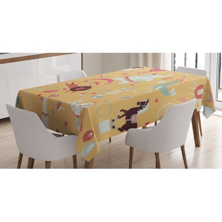 Circus Tablecloth, Retro Cartoon Circus Theme with Seal Holding Ball on His Nose in Balance and Others, Rectangular Table Cover for Dining Room Kitchen, 52 X 70 Inches, Multicolor, by Ambesonne - Circus Themed Ball