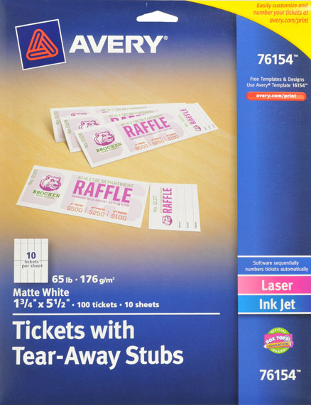 avery tickets with tear away stubs 100ct walmart com