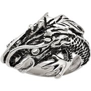 Stainless Steel Antiqued Dragon Ring, Available in Multiple Sizes
