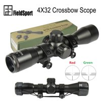 Field Sport 4X32 Crossbow Compact Multi Range Reticle Scope Red Green With Rings Lens Covers