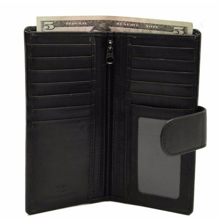 Men Leather Checkbook Bi-fold Wallet 12 Credit Card Slots Center Zip Flip Button (BLACK