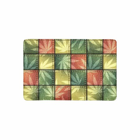 Mkhert Shabby Patchwork With Hemp Leaves Doormat Rug Home