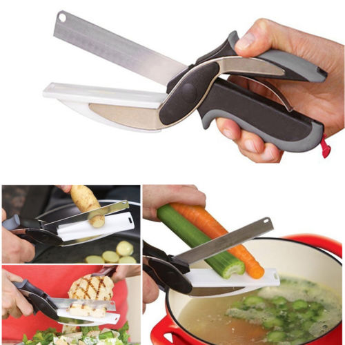 2-in-1 Clever Cutter Knife & Cutting Board Scissors Smart Tool As Seen On TV
