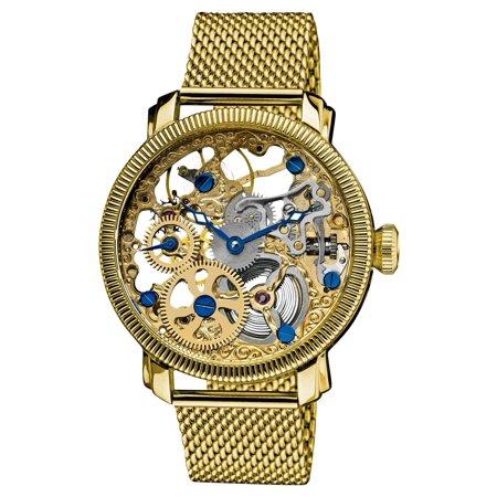 Gold Tone Mechanical Skeleton (Men's Stainless Mechanical Skeleton Gold-Tone Mesh Bracelet Watch )