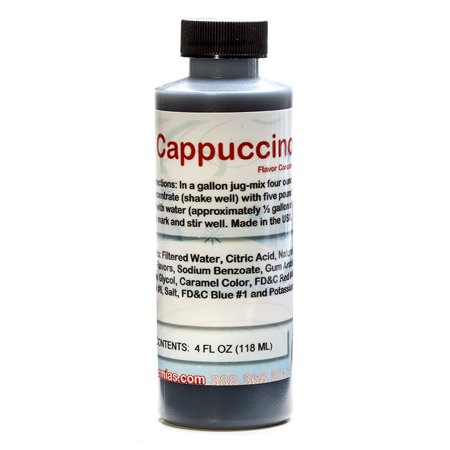 Cappuccino Shaved Ice and Snow Cone Flavor Concentrate 4 Fl Ounce Size