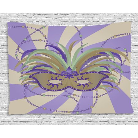 New Orleans Tapestry, Classic Masquerade Mardi Gras Mask Design on Swirled Bicolor Stripes Background, Wall Hanging for Bedroom Living Room Dorm Decor, 60W X 40L Inches, Multicolor, by - Orleans Swirls