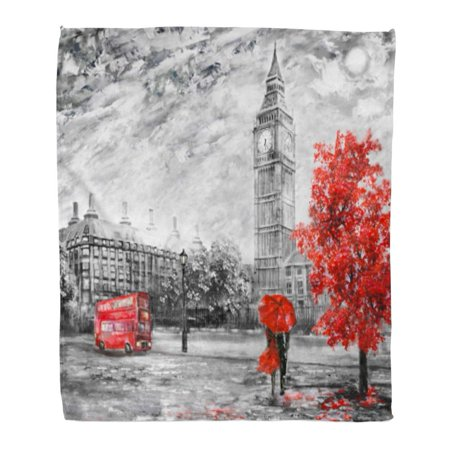 ASHLEIGH Flannel Throw Blanket Oil Painting on Canvas Street View of London Big Ben Man and Woman Under Red Umbrella Bus Road 50x60 Inch Lightweight Cozy Plush Fluffy Warm Fuzzy Soft ()
