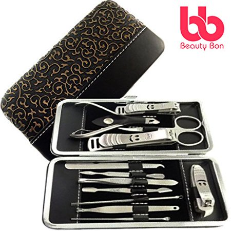 11dd307400ee Manicure Pedicure Set Nail Clippers - 12 Piece Stainless Steel Hygiene Kit  - Toenail Clippers Includes Cuticle Remover with Portable Travel Case ...