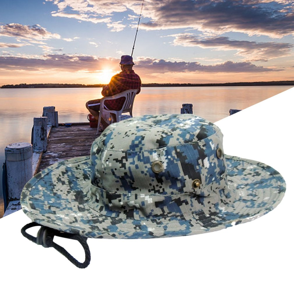 a4386e1721dd0 Outdoor Fishing Military Cap Camouflage Printed Bucket Hats Men Male Jungle  Camo Fisherman Hat With Wide Brim Fisherman s hat 1 sky blue