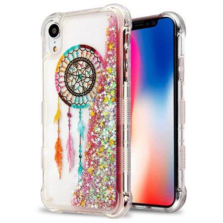 "Apple iPhone XR (6.1 inch)(2018 Model) Phone Case BLING TUFF Hybrid Liquid Glitter Quicksand Rubber Silicone Gel TPU Protector Hard Cover - Dreamcatcher Phone Case for Apple iPhone Xr (6.1"")"
