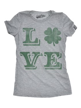 7e633ca19092 Product Image Womens LOVE Lucky Clover Vintage Cute Irish Shamrock T shirt  For Ladies. Product TitleCrazy Dog ...