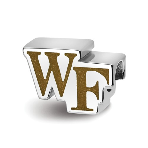 Sterling Silver LogoArt Official Licensed Collegiate Wake Forest University (WFU) WF PRIMARY Enameled Extruded Logo Bead