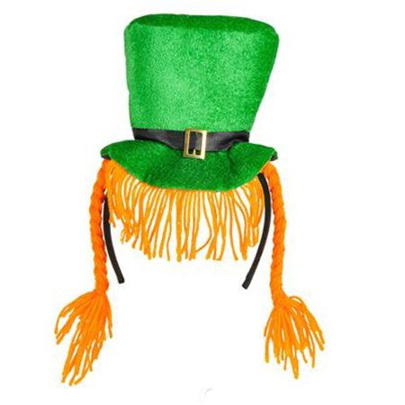 - Saint Patrick's Day Green Leprechaun Hat Headband With Braids Costume Accessory