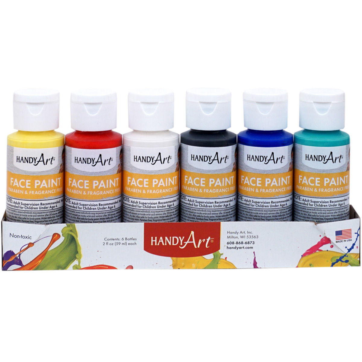 Handy Art Face Paints 2oz 6/Pkg-Primary