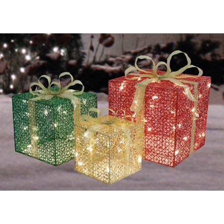 3-Piece Glittery Red, Green & Gold Gift Box Lighted Christmas Outdoor - Walmart Outdoor Christmas Decorations