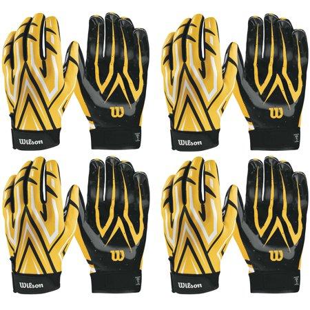 Wilson Adult MVP Clutch Football Running Back Receiver Gloves, XL (4 Pairs)