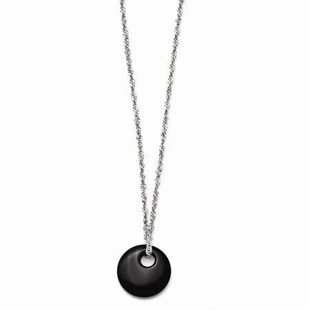 Circular Jewelry - Stainless Steel Black Onyx Circular Polished Necklace