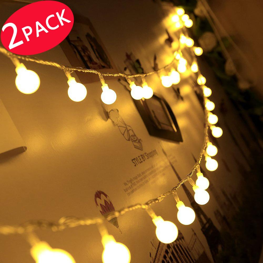 Christmas string Lights, 2 PACK Battery Powered Dimmable Globe String Lights, 17.4 ft 50 LED Decorative Christmas Lights... by