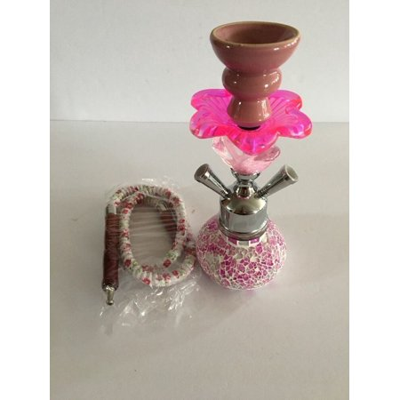 Smoking Water Tobacco Glass Set Smoke Pink Hookah Pipe 1 Hose Bowl Shisha New (Glass Tobacco Pipes And Bowls)