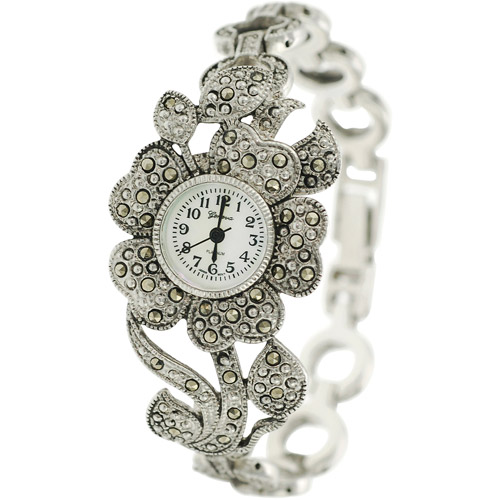 Brinley Co. Women's Marcasite Flower Watch