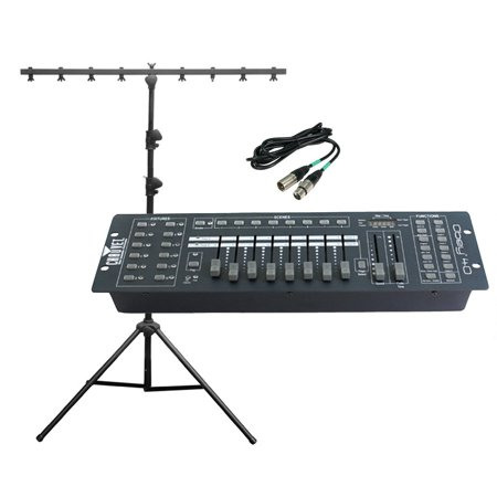 - CHAUVET OBEY 40 DMX Universal Light Controller + T Bar Tripod Stand + 25' Cable