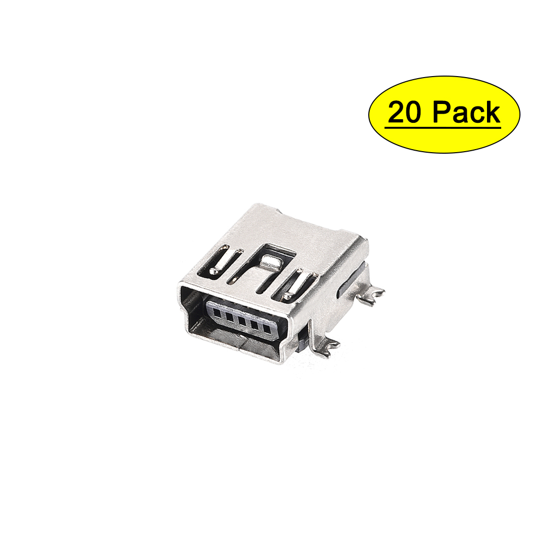 Color: 100PCS Gimax 10-500pcs 180 Degree white Dual micro mini USB 2.0 Data Connector Jack socket USB Female Plug for DIY Accessories Computer PC