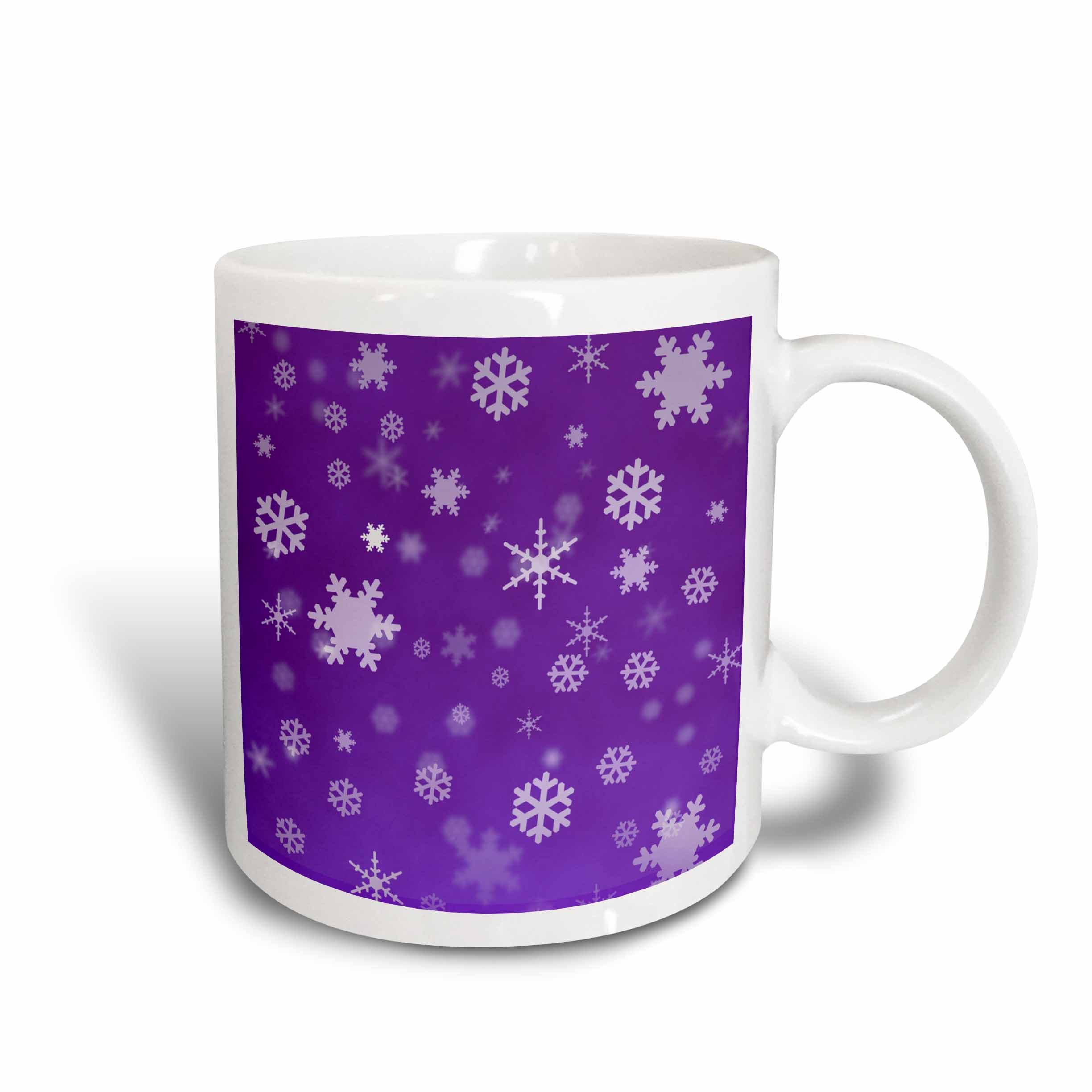 3dRose Winter Snowflakes Purple, Ceramic Mug, 15-ounce
