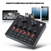 Tebru Phone Sound Card, Audio Mixer External USB Headset Microphone Mobile Computer PC Live Sound Card Karaoke, Karaoke Sound Card