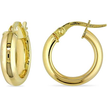 (Solid 10kt Yellow Gold Hoop Earrings (16mm Diameter))