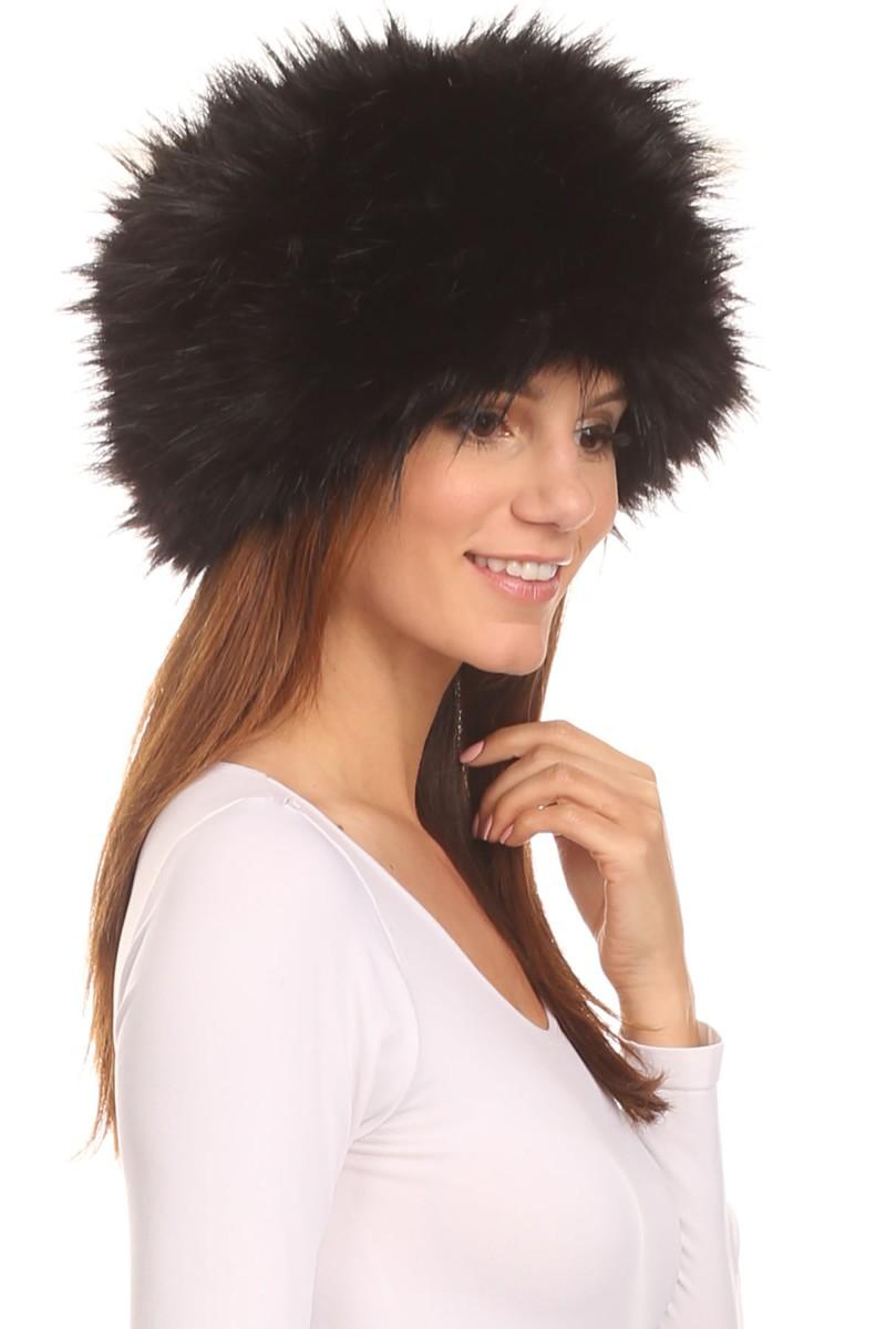 2f66ed60c LL - Luxury Style Faux Long Fox Fur Pillbox Cossack Hat - BLACK -  Walmart.com